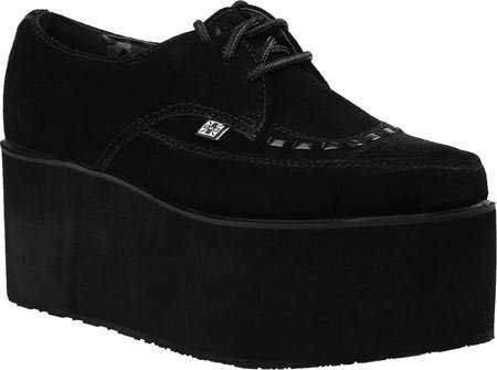 T.U.K. Shoes Womens Black Suede Stacked Pointed Creepers EU44 / UKM10
