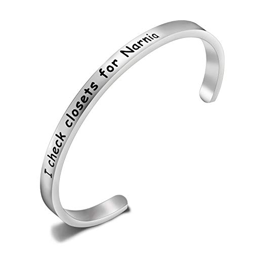 SEIRAA I Check Closets for Narnia Cuff Bangle Literary Gift CS Lewis Quote Bangle Narnia Jewelry Book Nerd Gift for Women (I Check Closets for Narnia)