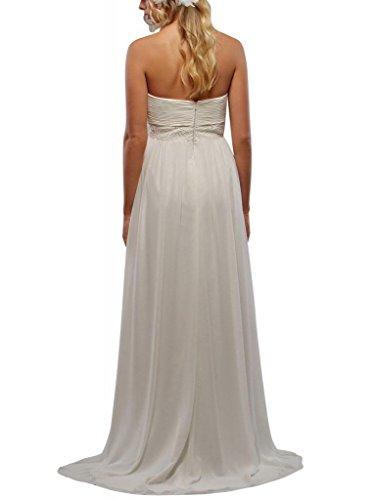 Taille GEORGE mit Traegerloses Detail Schatz Reich Weiß Hochzeitskleider Perlen Brautkleider BRIDE qrwrRUI