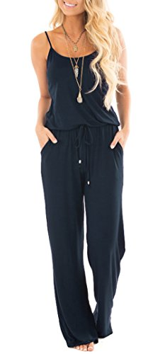 Jug&Po Women Casual Sleeveless Loose Wide Legs Jumpsuit Stretchy Srap Long Pants Romper With Pockets¨Navy Meduim by Jug&Po