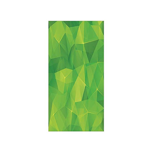3D Decorative Film Privacy Window Film No Glue,Green,Abstract Triangles Geometric Composition Fractal Mosaic Futuristic Print Decorative,Lime Green Apple Green,for Home&Office