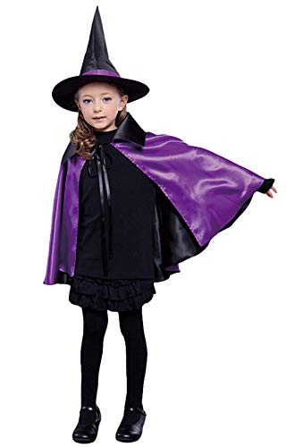Halloween Cape Witches, Coxeer Cosplay Cape Hat Set Comics Cartoon Dress Up Christmas Halloween Costume for Kids(Purple)