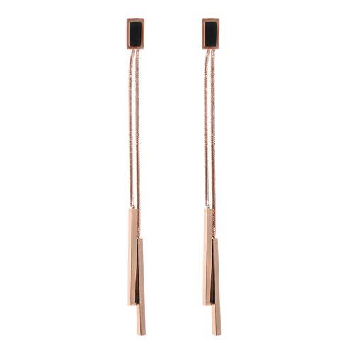 (SUNSCSC 18k Rose Gold Plated Tassel Chain Bar Dangle Drop Earring for Women Girl Long Line Jewelry (Double bar Dangle)