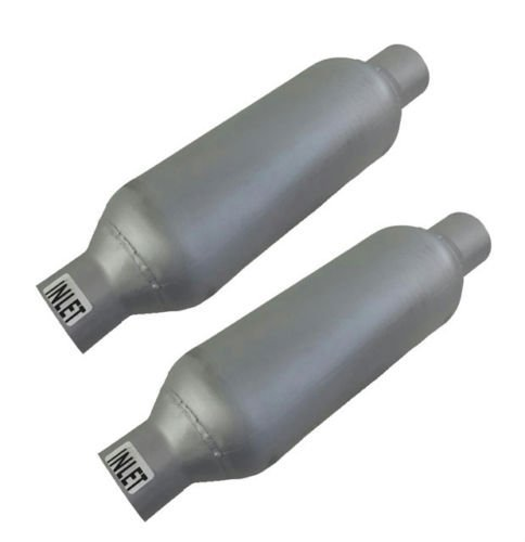 Pair of single chamber performance race round universal mufflers 3