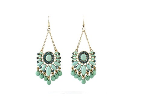 Light Weight Party Wear Jhumka Set In Green Fanhua Hanging Earrings Earrings Jhumkas  Bali Bohemia Drop Dangle  Bollywood Style Ethnic Traditional Vintage Jewelry Wedding Indian Earrings For Women