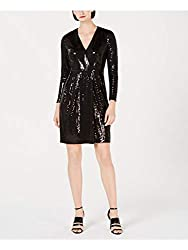 Long Sleeve Short Sequin Dress with V Neckline