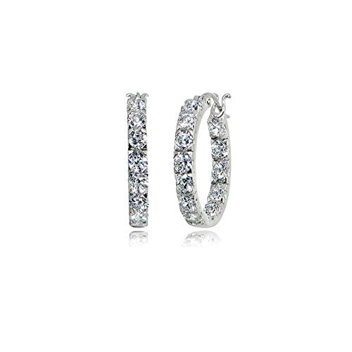 Sterling Silver Polished Inside Out 3x20mm Round Hoop Earrings Made with Swarovski Zirconia ()