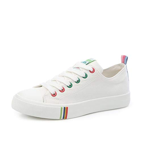 Hasag Zapatos de Lona Zapatos Planos Femeninos Salvajes Mujeres Respirables Ayuda Baja Mujeres Zapatos de Encaje white