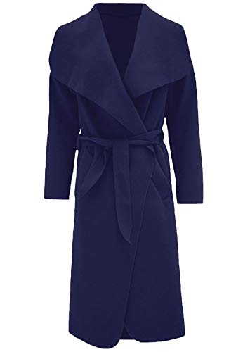 Trench Fashions Islander Blue Donna Duster Navy Coat S Waterfall Womens Cintura Giacca Italiano Francese Lunga Con 2xl EHEdqx