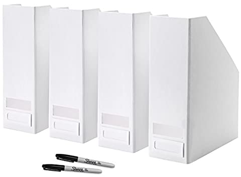 Ikea Magazine Holders With Labels & Markers - Made for Magazines - Newspapers - Loose Paper - Files - Bills - White, Set of 4 Magazine File Holders with Sharpie Markers