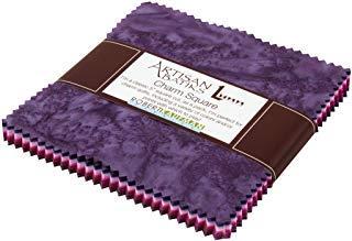 (Lunn Studios PRISMA DYES PLUM PERFECT BATIKS Precut 5-inch Charm Pack Cotton Fabric Quilting Squares Assortment Robert Kaufman CHS-268-42)