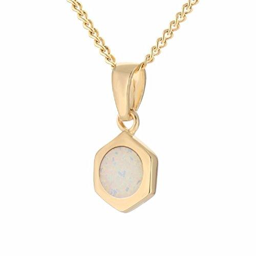 14K Gold Plated Necklace White Hexagon Bolt Nutt White Opal Gold Pendant For Women