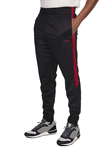 Spalding Mens Tricot Tapered Zipper Track Pants Black/Red Large