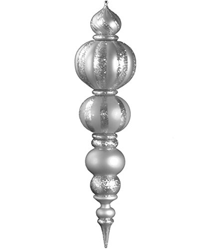 Queens of Christmas WL-FIN-48-SLV Plastic Oversized Shatterproof Finial Decorative Ornament, 48'', Silver