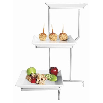Cal-Mil PP2301-13 Prestige Incline 3 Tier Display, Square, 22'' Height, 16'' Width, 26'' Length, Porcelain, Black by Cal Mil