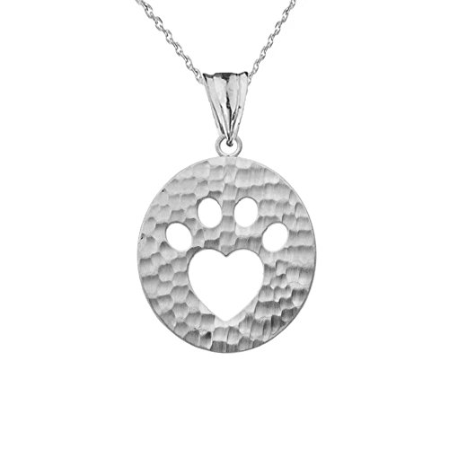 Elegant Sterling Silver Oval Shaped Cut-Out Paw Print Charm Pendant Necklace 18