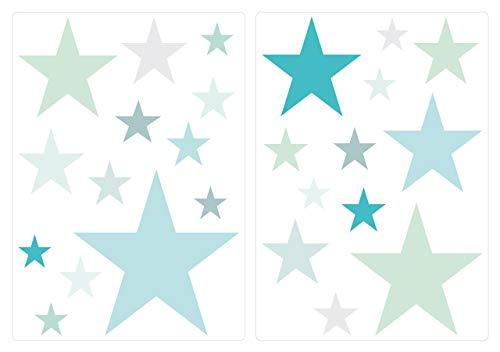 Pegatina De Pared Set Habitación Infantil Estrellas En Colores Pastel En Grandes Tonalidades Azules Y Verdes Unidades Estrellado Para Pegar Adhesivos
