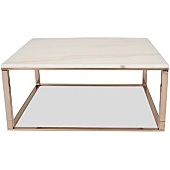 Amazon Edloe Finch White Marble Coffee Table Modern Rose Gold