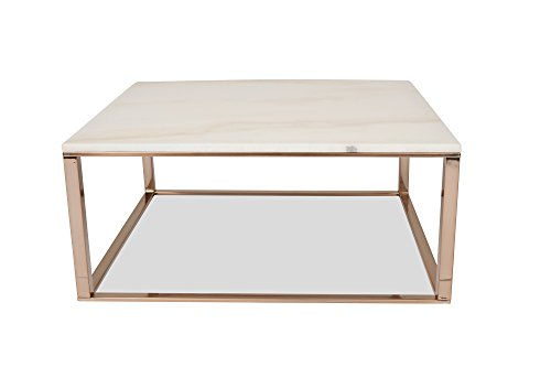 Edloe Finch White Marble Coffee Table - Modern Rose Gold Coffee Tables for Living Room - Square