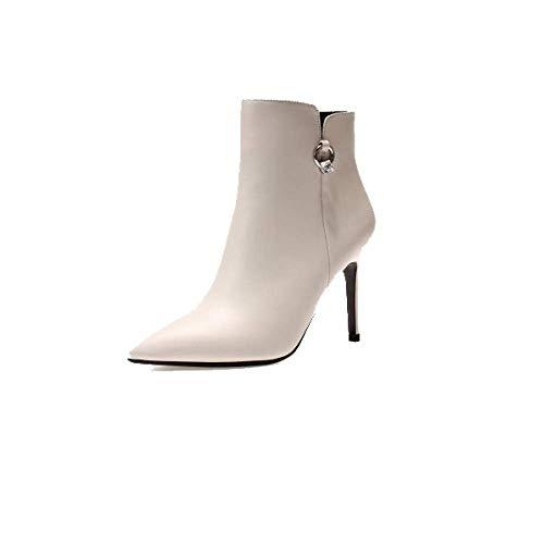 Mode Hauts Femmes Confort Chaussures Talons à Beige pour Fermeture Pointues ZPEDY Bottines Glissière wtqBZZa