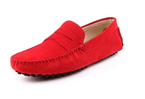 Crc Hombres Fashion Casual Comfort Slip On Cuero De Gamuza Walking Driving Training Entrenamiento Doug Zapatos Red