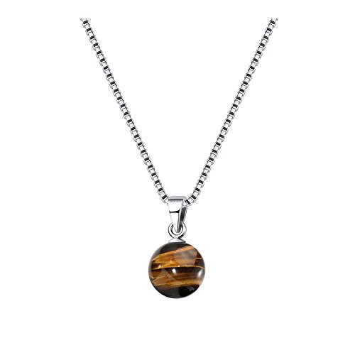 Rinntin Jewelry 925 Sterling Silver Tiger's Eye Stone Necklaces Pendants for (925 Sterling Silver Tiger)