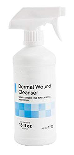 - No-rinse Wound Cleanser 16 oz. Dermal Wound Cleansing Spray with Adjustable nozzle for chronic and acute wounds. Advanced wound care solution. Non-Cytotoxic, latex-free.