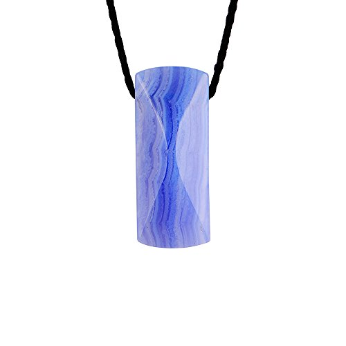 - iSTONE Natural Blue Lace Agate Lucky Stone Pendant Necklace Rope Chain 24 Inch for Women