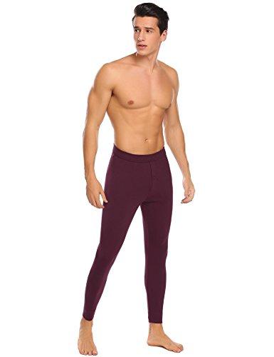 Langle Men's Long Sleepwear Soft Cotton Elastic Waist Pajamas Set (Dark Red, XXL) by Langle (Image #4)