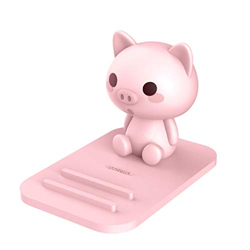 Pink Pig Phone Holder - Adjustable Stand - Lovely Animal Desktop Cell Phone Stand, Creative Cartoon Multi-Function Desk Phone Stand, Smartphone Dock,Frog Gift for Girl (Pink Pig, 17 X 8 X 5 cm) (Pig Holder)