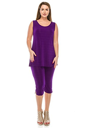 Jostar Women's Stretchy Tank Capri Pant Set X-Large Purple