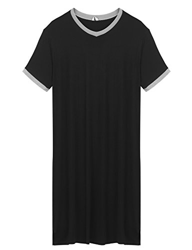 pehie Mens Nightshirts Short Sleeve V Neck Sleepwear Long Sleep Pajama Top
