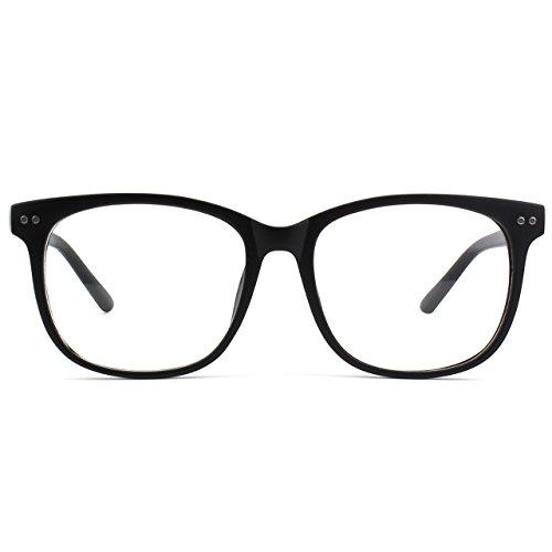 GQUEEN Grand lunettes transparentes corne clair PE1 Matte surdimensionné Black cadre rrPxnd