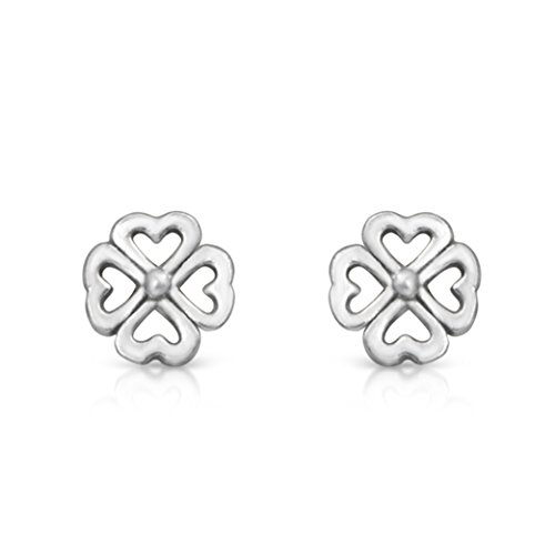 Sterling Silver Four Leaf Clover Good Luck Charm Rhodium Plated Stud - Earrings Lucky Clover