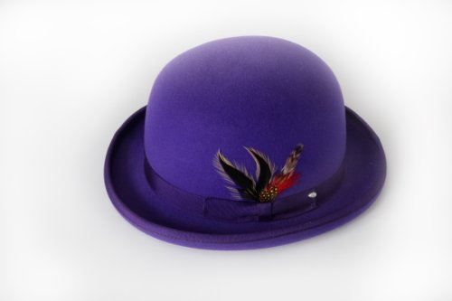 [New Mens 100% Wool Purple Derby Bowler Hat] (40s Mobster Costumes)