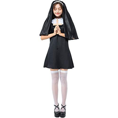 uniquetj Sexy Nun Costume for Women Halloween Cosplay Costumes Christian Dress -