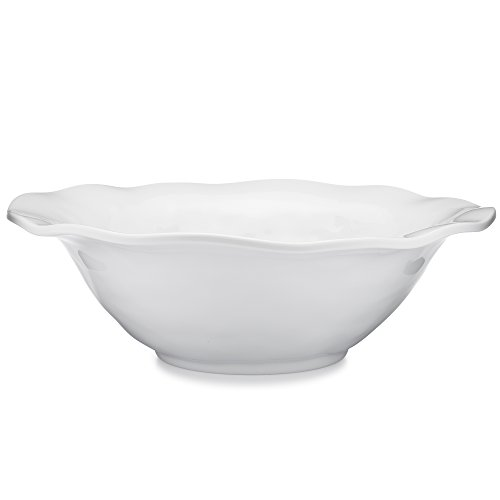 Q Squared Ruffle in Round BPA-Free Melamine Round Serving Bowl, 12-Inches, White