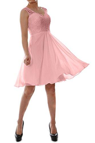 MACloth Women V Neck Lace Chiffon Short Formal Evening Cocktail Party Dress Blush Pink