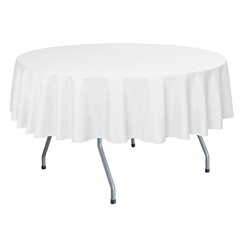 Ultimate Textile -10 Pack- 84-Inch Round Polyester Linen Tablecloth, White