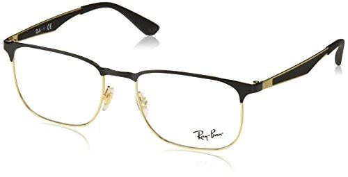 Ray-Ban RX6363 Square Metal Eyeglass Frames, Black on Gold/Demo Lens, 54 ()