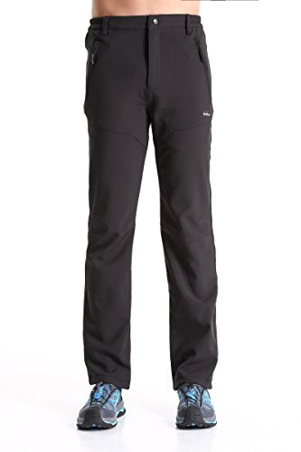 Clothin Men's Fleece Lined Water Repellent Soft Shell Pants(Black M) Fleece Lined Water