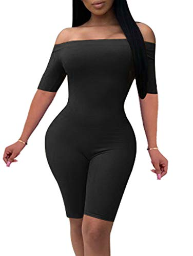 YMDUCH Women's Sexy Off The Shoulder Solid Color Catsuit Short Leg Club Skinny Jumpsuit Black -
