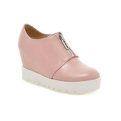 Amoonyfashion Delle Donne Pu Solido Cerniera Tacco Tacco A Spillo Pompe-scarpe Rosa