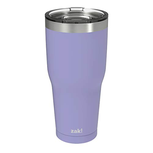 Zak Designs Cascadia Stainless Steel Double Wall Vacuum Insulated Travel Mug Tumbler with Slide Lid and Splash-Proof Design Water Bottle is Perfect for Outdoor Activity (30oz, Iris, 18/8, BPA Free)