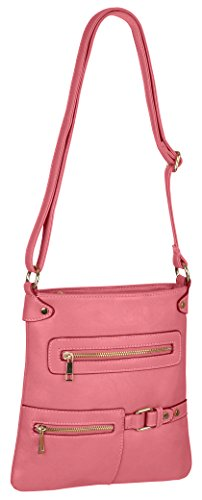 Messenger Piper Leather Bag Body Womens Faux Shoulder Cross Pink Ladies C44qHXw
