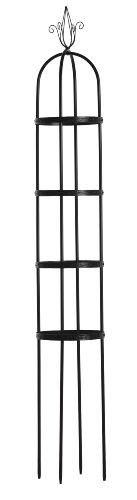 Metal Obelisk - Luster Leaf 931 7.5-Foot Link-Ups Obelisk with 4 Embossed Rings, Black