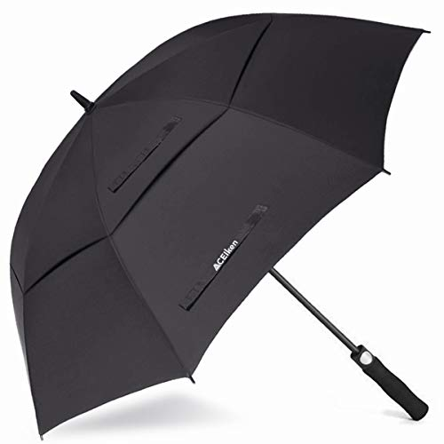 ACEIken Golf Umbrella Large 62 Inch Automatic Open Golf Umbrella with Car Window Breaker Extra Large Oversize Double Canopy Vented Umbrella Best Gift for Father Him Husband Boys