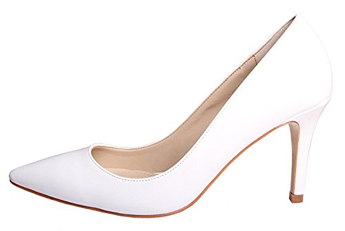 HooH High Heel Dress Pumps Pointed 8cm Stiletto heel white Women's Toe WgrWfRa
