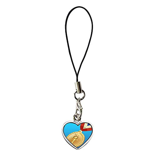 (GiftJewelryShop Silver Plated gold medal of London 2012 Olympic Games Flower Photo Dangle Heart Strap hanging Chain for Phone Cell Phone Charm)