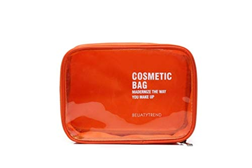 PomPomHome Fashion 4 Color PVC Transparent Clear Waterproof Cosmetic Bag Makeup Organizer Storage Bag Travel Toiletry Wash Package (Orange)